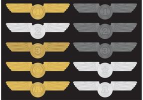 Flügel-Medaillen-Vektoren