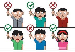 Personas vectoriales con signos incorrectos correctos