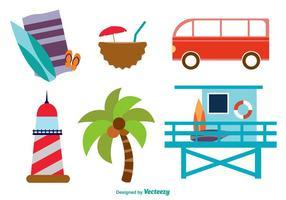 Ícones planos da praia
