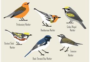Handgetekende Warblers-vectoren