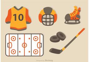 Iconos planos de hockey