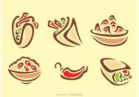 Stylish Mexican Food Icons