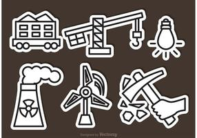 Iconos de vector de planta de energía