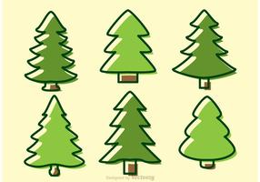 Cedar Trees Cartoon Vectors