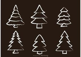 Vecteurs d'arbre à cèdre dessinés à la craie
