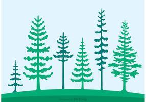 Cedar Trees Silhouette Vector