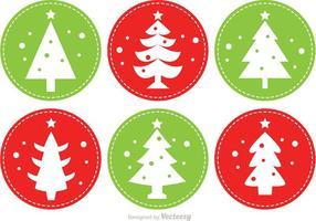 Vetores de árvore de natal costurados