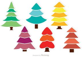 Vectores coloridos de los árboles de cedro