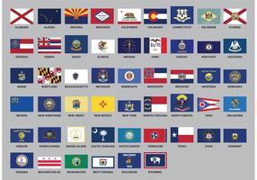 Vecteurs de drapeau de l'État des États-Unis
