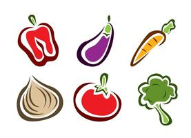Stylish Vegetable Food Icons vector