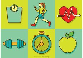 Ícones vetoriais de dieta saudável