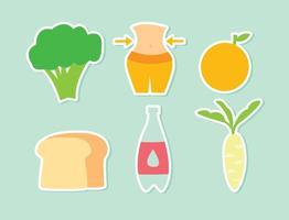 Ícones de vetor de dieta de alimentos saudáveis