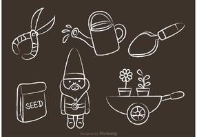 Tiza Dibujado Iconos de jardinería Vector