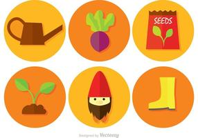Jardinier des icônes vectorielles circulaires
