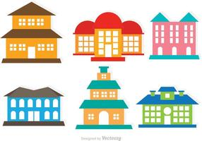 Flat Colorful Vector Mansion Set
