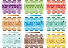 Mesa vetorial reunião com palavras