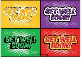 Comic-Stil Get Well Soon Label-Set