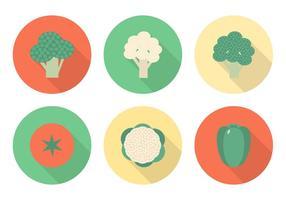 Ícones vetoriais de vegetais planos livres