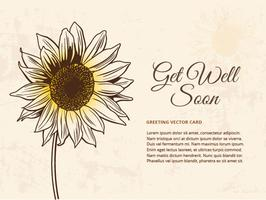 Gratis Drawn Sunflower Vector Illustration