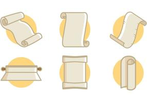 Scrolled Paper Icons Vektor Illustrationer Gratis