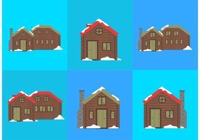 Log Cabin Schnee Vektoren
