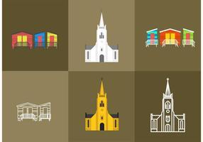 Kapstaden kyrkor och Beach House vektorer