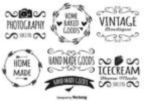 Cute Hand Drawn Style Label Set