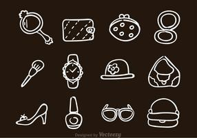 Hand Drawn Woman Accessories Icons vector