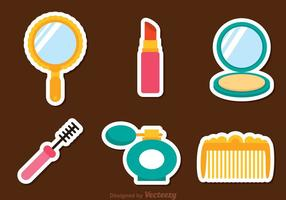 Vektor kvinna kosmetiska ikoner
