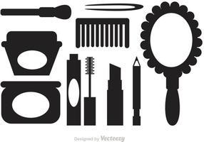 Ícones de vetor de silhueta cosmética