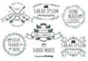 Bonito conjunto de etiquetas feitas à mão