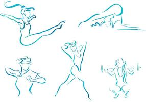 Gratis Vector Schets Vrouwen Fitness Illustraties
