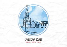 Vector Watercolor Kremlin Tower