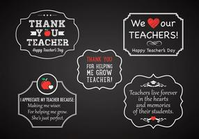 Teacher's Day Chalk Labels Vector