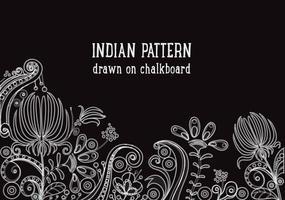 Gratis Indiase Patroon Op Blackboard Vector Achtergrond