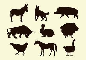 Siluetas de los vectores animales de granja