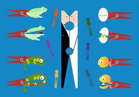 Vektor-Illustration der kreativen und ungewöhnlichen Verwendung von Clothespin