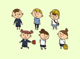 Schoolkinderen In Uniforme Cartoon Vectoren