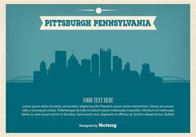 Vintage Art Pittsburgh Skyline Illustration