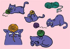 Cat With Ball Of Yarn Set vector