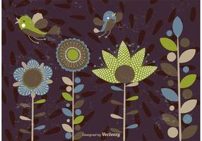 Formas de flores abstratas e pássaros