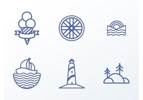 Iconos de la playa del vector