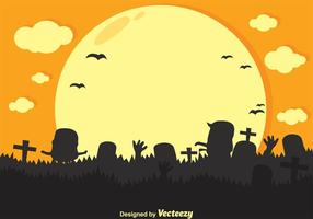 Silhueta de desenho animado de zombi vetorial