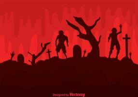 Vector Zombies In Cemetery