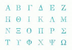 Freie griechische Aquarell Alphabet Großbuchstaben Vektor