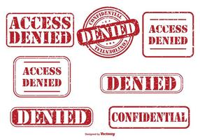 Denied Rubber Stamp Set vector