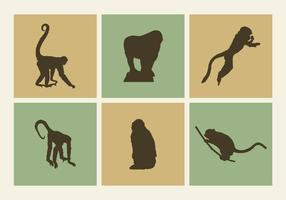 Monkey silhouettes vector graphics free