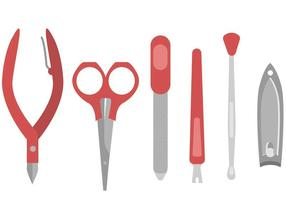 Manicure pedicure tools vector set