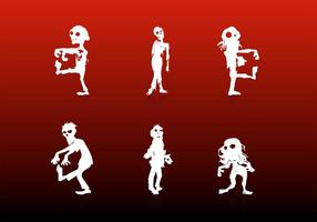Zombie Cartoon Silhouettes Vectors Free