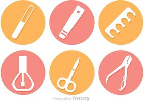 Circle Manicure Pedicure Vector Icons